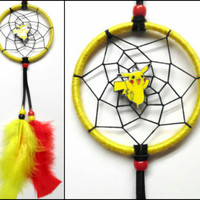 "Pokemon Pikachu dreamcatcher, small yellow 3"" ring, black web"