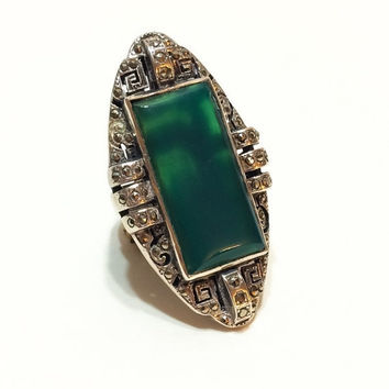 Ten% Discount Art Deco Ring, Chrysoprase, German, Sterling Silver and Marcasites, Very Large Ring, Gemstone Statement, 1930s, Vintage Jewelr