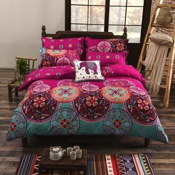 Cool Juwenin Home Pink Bohemian Oriental Mandala Bedding Quilt Duvet Cover Set Single Queen KingAT_93_12