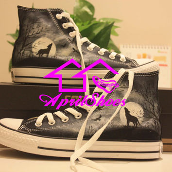 Custom High Top Converse Sneakers, Wolf in the Woods Themed Shoes, Unique Design Converse, Hand Paint All Star, Custom Kicks