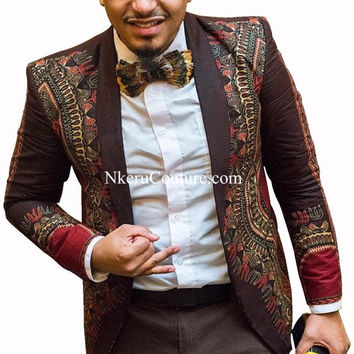 Customized Men Printed Blazer Fashion African Style Suit Coat Traditional Clothing Plus Size M - 6XL GF304
