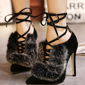 hollow out pointed heels