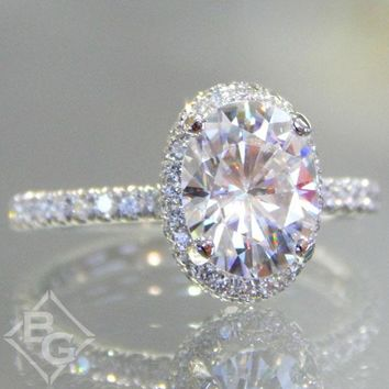 Forever One Oval Cut Moissanite Halo Diamond Engagement Ring