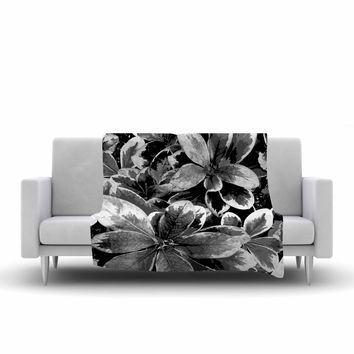 "Julia Grifol ""Leaves In Gray"" Floral Black Fleece Throw Blanket"
