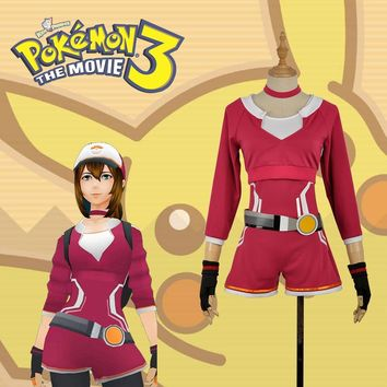 Hand Tour  Go Red Trainers Female Version Cosplay Costume For Christmas For Adult Any Size with HatKawaii Pokemon go  AT_89_9