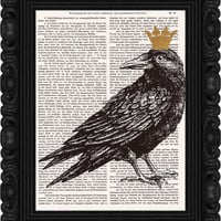 Crow Print Art Illustration Drawing Crow Poster Digital Print  Wall Art Wall Décor Wall Hanging  mixed media artprint