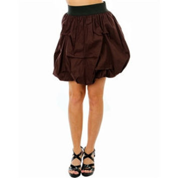 Gathered Satin Skirt With Elastic Waistline