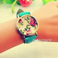 Floral Watch, Vintage Style Leather Watch, Women Watches, Unisex Watch, Green Leather,Wrist Watch