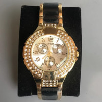 GUESS gold with black bracelet with rhinestone gold dial domineering men's watch F0744-1