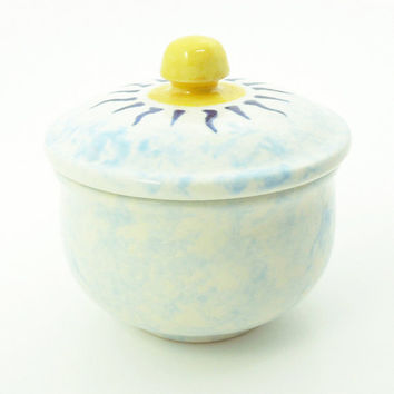 Ceramic sun trinket box jewelry box - Yellow blue white - Bridal shower favors