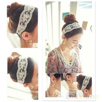Women Fashion Fabric Lace Wide Stretch Headband Romantic Retro Cotton Headwrap = 1929551940