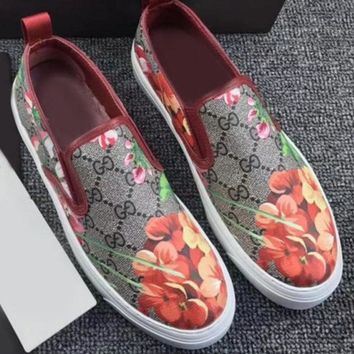 Gucci Fashion Trending Casual Flowers Design Loafer Shoes Flat Shoes Green G-1
