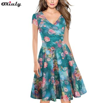 Oxiuly Plus Size  Bamboo Leaf Floral Print Ruffle V Neck Dress Short Sleeve Knee Length Ladies Casual A-Line Dresses Vestidos