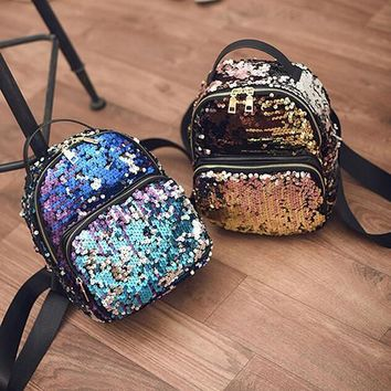 New Arrival Women All-match Bag PU Leather Sequins Backpack Girls Small Travel Princess Bling Backpacks