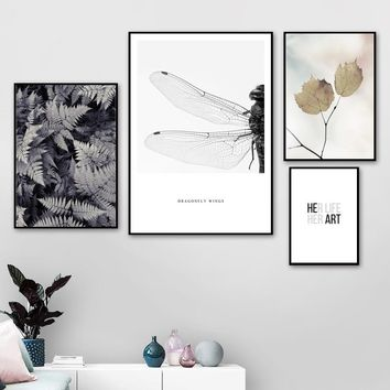 Wall Art Canvas Painting Dragonfly Leaf Quotes Animal Nordic Posters And Prints Canvas Pictures For Living Room Bedroom Decor