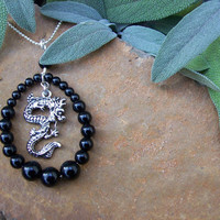 Nature Inspired Black Obsidian Gemstone Pendant & Silver Chinese Dragon on Sterling Silver Chain - OOAK Goth Gothic High Fashion Jewelry