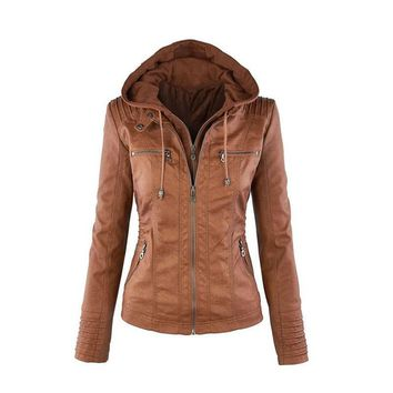 Women Faux Leather Jacket Pu Motorcycle Hooded Hat Detachable Casual Leather Plus Size 7xl Punk Outerwear NS4056