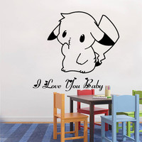 50*40cm Cute Pokemon Pikachu Mural Decals Decor Home Removable Personal DIY Wall Sticker For Kids Rooms Cartoon Wall Art Poster