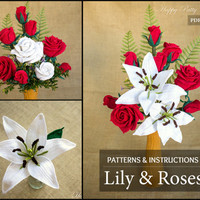 Crochet Flower Pattern Collection - Crochet Lily & Roses for Bouquets, Decoration, Hair and Brooches  -  Valentine's Romantic Gift Idea