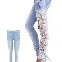 Ally Blue Skinny Jeans Pants Side Lace Floral Cut