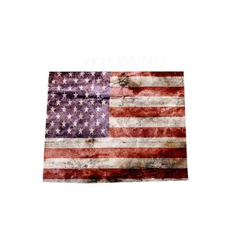 Wyoming Distressed Tattered Subdued USA American Flag Vinyl Sticker