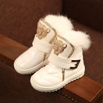 Kids snow boots water-proof outdoor skull and feather decorate boots