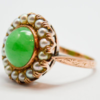 Mid Century Carved Jadeite and Pearl Ring