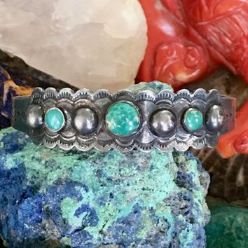 Fred Harvey Era Navajo Turquoise Bracelet in Sterling Silver