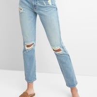 High Rise Cone Denim® Slim Straight Jeans in Destructed | Gap