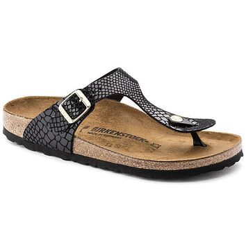 Hot Sale GIZEH Birkenstock Summer Fashion Leather Sandals For Women Men color Shiny Sn