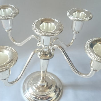 Silver plated 5 candle stick holder