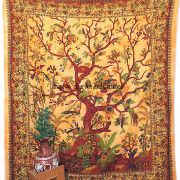 Tree of Life Tapestry, hippie bohemian wall hanging tapestries, indian bedspread bedding throw, ethnic home decor