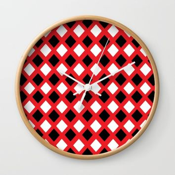 Rhombus: Red, black and white I Wall Clock by VickaBoleyn
