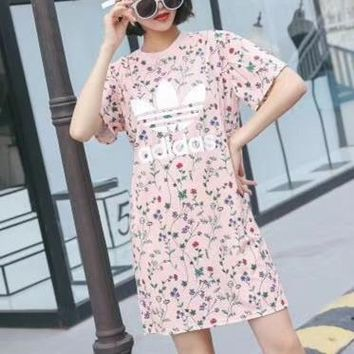 """Adidas"" Sport Casual Sweet Floral Print Short Sleeve Middle Long Section T-shirt Dress"