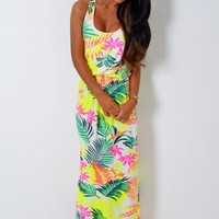 Tangier White Neon Tropical Print Maxi Dress | Pink Boutique