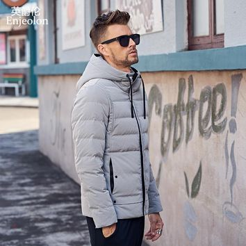 fashion thicken winter down hooded jacket men light clothing black Gray coat down parka