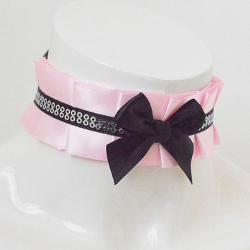 Kitten play collar - Cotton Glimmer - pink and black - ddlg princess kawaii cute neko girl lolita petplay choker