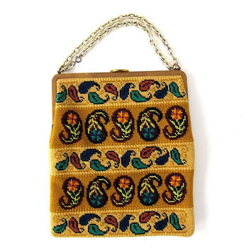 60s needlepoint purse. carpet handbag. paisley print bag.