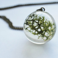 Green Moss Necklace 01 Real Forest Moss Specimen Orb Resin Pendant Botanical Dried Plant Nature Woodland