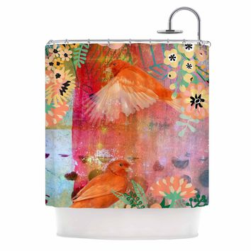 "AlyZen Moonshadow ""2 Red Birds With Flowers"" Red Coral Digital Shower Curtain"