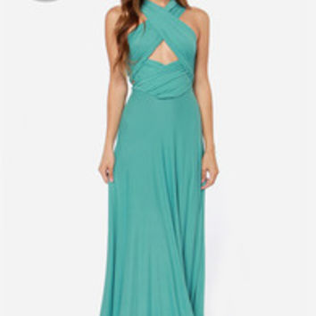 LULUS Exclusive Tricks of the Trade Turquoise Maxi Dress