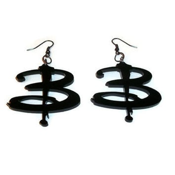 Buffy Earrings, Black Laser Cut B Buffy Logo Earrings