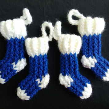 Mini Stocking Christmas Ornaments- Set of 4, royal blue and white, gift present tag package decoration, trim the tree, hanging ornament