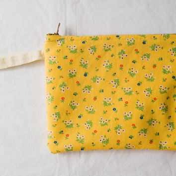Handmade Upcycled Zippered Yellow Floral Flowers Cosmetic Bag with Wristlet