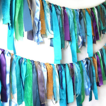 Mermaid or Peacock Garland, Summer Wedding Fabric Banner, Under The Sea Birthday Decor, Beach Party Photo Prop, Colorful Backdrop