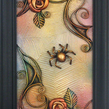3D Hand-Painted Leather Spider Wall Art, Unique Gift, Vintage Style Wooden Frame, Leather Roses, Acrylic Paste Relief Spider Web Background
