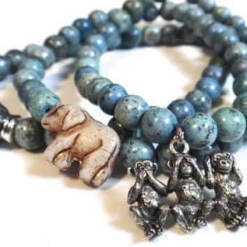 Speckled Blue Beaded Bracelet with Silver Three Wise Monkey Charm