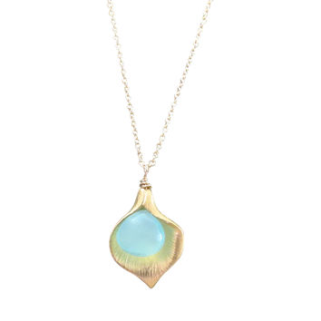 Petal Necklace with Aqua Chalcedony Accents