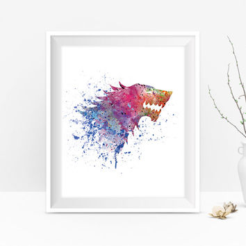 House Stark Art Print, Winter is Coming, Game of Thrones Poster, Home Decor, Game of Thrones Art Watercolor, Gift, Movie, Wall Art, Download