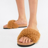 Monki fluffy cross over sliders in Brown faux fur at asos.com